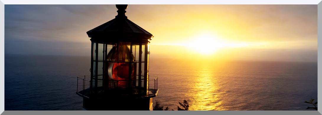 Visions of America Cape Meares Lighthouse at Sunset stretched canvas art print
