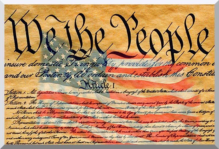 Visions of America Preamble to the U S Constitution with American Flag stretched canvas art print