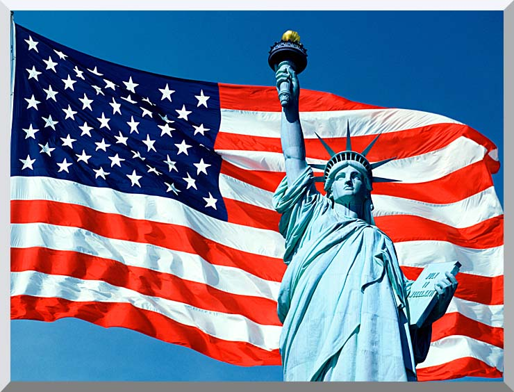 Visions of America American Flag and the Statue of Liberty stretched canvas art print