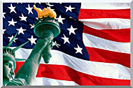 Visions of America Statue Of Liberty And American Flag stretched canvas art