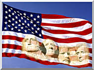 Visions of America American Flag And Mount Rushmore Presidents stretched canvas art
