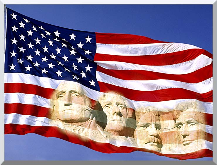 Visions of America American Flag and Mount Rushmore Presidents stretched canvas art print