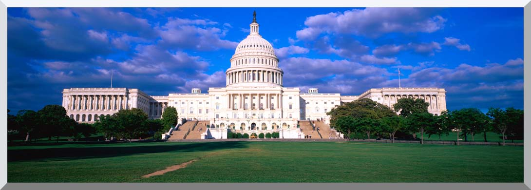 Visions of America West View of the U S Capitol at Sunset stretched canvas art print