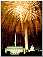 Visions of America Fourth Of July Celebration With Fireworks Exploding Over The Lincoln Memorial Washington Monument And U S Capitol Washington D C stretched canvas art