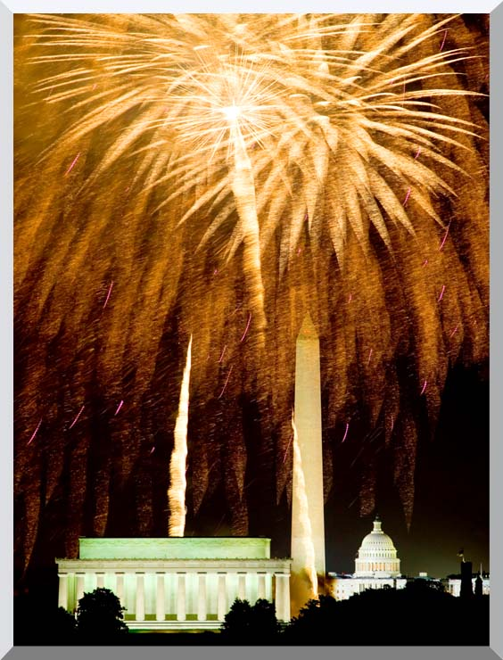 Visions of America Fourth Of July Celebration With Fireworks Exploding Over The Lincoln Memorial, Washington Monument And U S Capitol, Washington D C stretched canvas art print