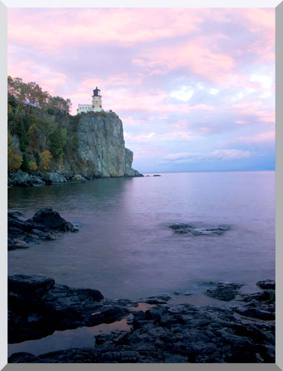 Visions of America Split Rock Lighthouse on Lake Superior stretched canvas art print