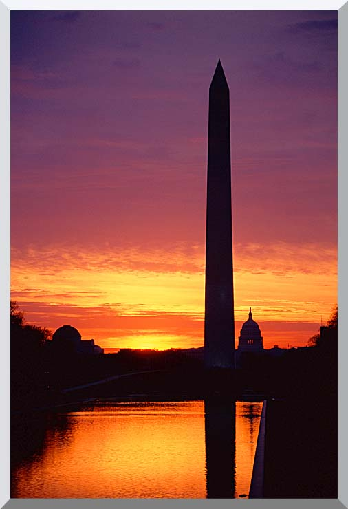 Visions of America Washington Monument at Sunset stretched canvas art print