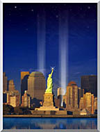 Visions of America World Trade Center Light Memorial stretched canvas art