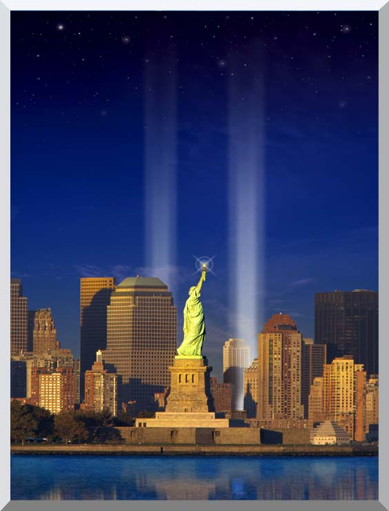 Visions of America World Trade Center Light Memorial stretched canvas art print