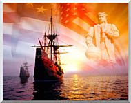 Visions of America Christopher Columbus American Flag Sailing Ships stretched canvas art