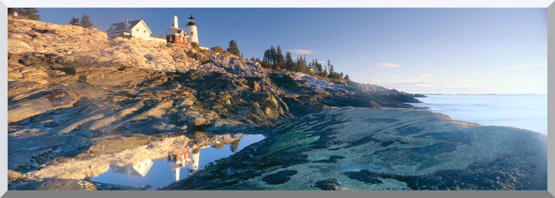 Visions of America Sunrise at Pemaquid Point Lighthouse Maine stretched canvas art print