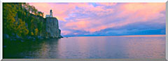 Visions of America Lighthouse At Split Rock Lake Superior Michigan stretched canvas art