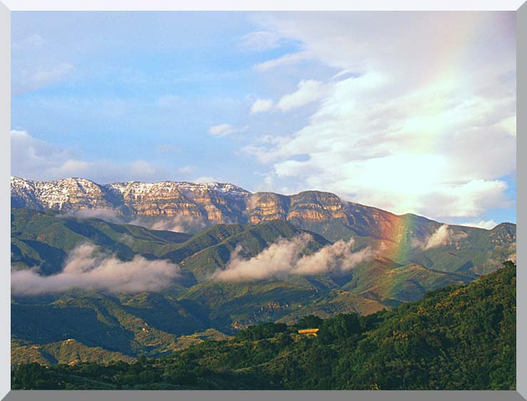 Visions of America Rainbow over Topa Topa Mountains in Ojai, California stretched canvas art print