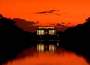 Visions of America Lincoln Memorial at Sunset with Red Sky