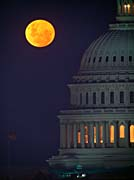 Visions of America Full Moon over U S Capitol in Washington, D C