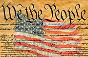 Visions of America Preamble to the U S Constitution with American Flag