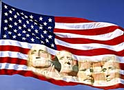 Visions of America American Flag and Mount Rushmore Presidents