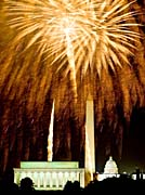 Visions of America Fourth Of July Celebration With Fireworks Exploding Over The Lincoln Memorial, Washington Monument And U S Capitol, Washington D C