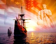Visions of America Christopher Columbus, American Flag, Sailing Ships