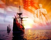 Visions of America Christopher Columbus, American Flag, Sailing Ships