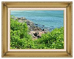 Brandie Newmon Marginal Way Ogunquit Maine canvas with gallery gold wood frame