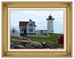 Brandie Newmon Nubble Lighthouse York Maine canvas with gallery gold wood frame