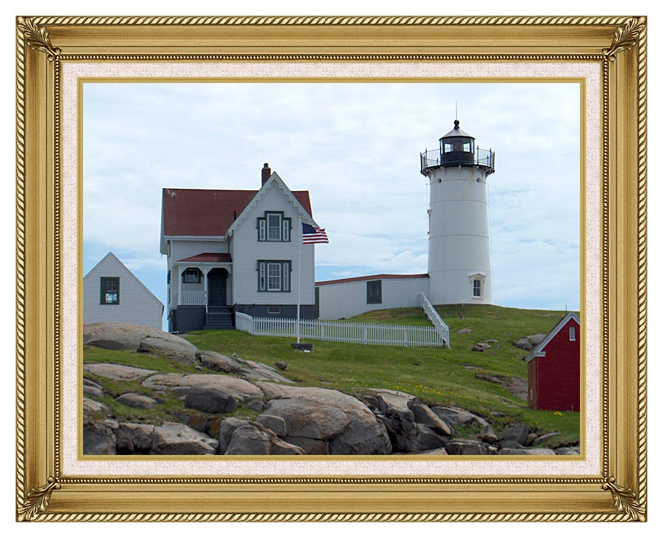 Brandie Newmon Nubble Lighthouse, York Maine with Gallery Gold Frame w/Liner