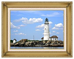 Brandie Newmon Boston Lighthouse Little Brewster Island Massachusetts canvas with gallery gold wood frame