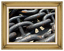 Brandie Newmon Ship Anchor Chains canvas with gallery gold wood frame