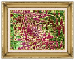 Brandie Newmon Maroon And Green Abstract canvas with gallery gold wood frame