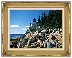 Brandie Newmon Bass Harbor Head Lighthouse canvas with gallery gold wood frame