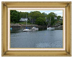 Brandie Newmon Fishing Boats In Ogunquit Maine canvas with gallery gold wood frame