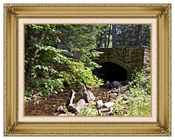 Brandie Newmon Rock Bridge At Mount Tom Massachusetts canvas with gallery gold wood frame