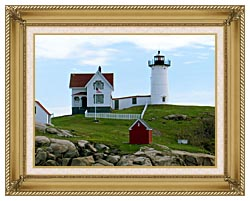 Brandie Newmon Cape Neddick Lighthouse York Maine canvas with gallery gold wood frame