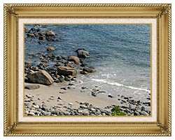 Brandie Newmon Coastline In Ogunquit Maine canvas with gallery gold wood frame