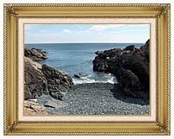 Brandie Newmon Rocks Along The Maine Coastline canvas with gallery gold wood frame
