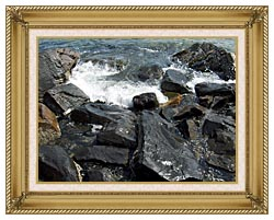Brandie Newmon Ocean Waves Crashing Into The Rocky Maine Coast canvas with gallery gold wood frame
