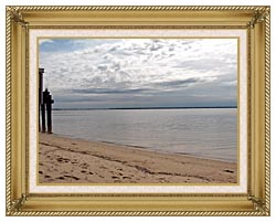 Brandie Newmon Sandy Beach In Provincetown MA canvas with gallery gold wood frame