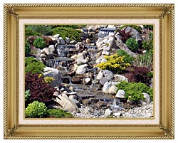Brandie Newmon Waterfall In Ogunquit Maine canvas with gallery gold wood frame