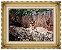 Brandie Newmon Tiger canvas with gallery gold wood frame