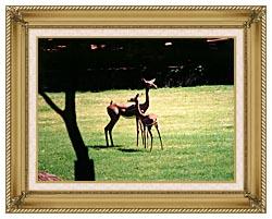 Brandie Newmon Gerenuk Antelopes canvas with gallery gold wood frame