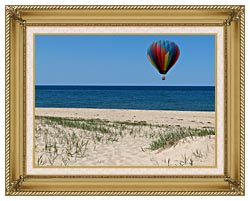 Brandie Newmon Hot Air Balloon At The Beach canvas with gallery gold wood frame