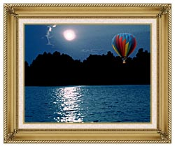 Brandie Newmon Hot Air Balloon At Night canvas with gallery gold wood frame