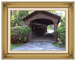 Brandie Newmon Covered Wooden Bridge canvas with gallery gold wood frame