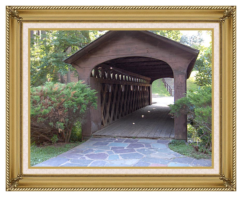 Brandie Newmon Covered Wooden Bridge with Gallery Gold Frame w/Liner