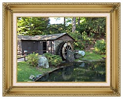 Brandie Newmon Rustic Water Mill Wheel canvas with gallery gold wood frame