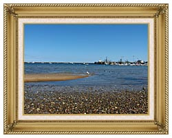 Brandie Newmon Provincetown Harbor canvas with gallery gold wood frame