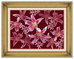 Brandie Newmon Lilies canvas with gallery gold wood frame