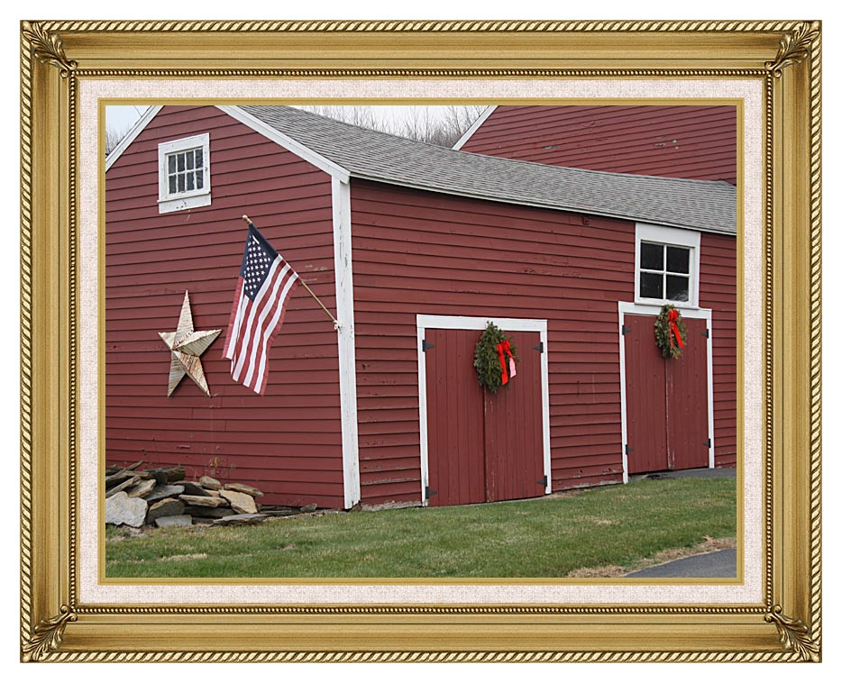 Kim O'Leary Photography Winter Red Barn with Gallery Gold Frame w/Liner