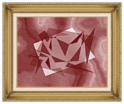 Lora Ashley Fragments Unite Cranberry Brown canvas with gallery gold wood frame